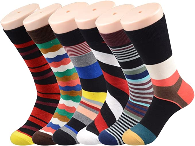 PUTON Men/'s Fun /& Funky Colorful Cotton Dress Socks Assorted 12