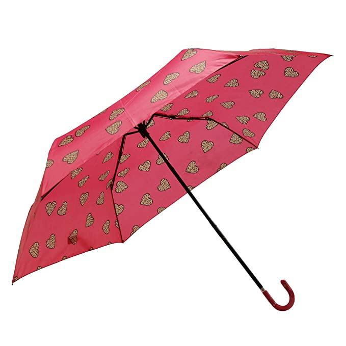 Susino X-Brella Leopard Heart Crook-Paraguas Mujer, Pink (Fuschia) (
