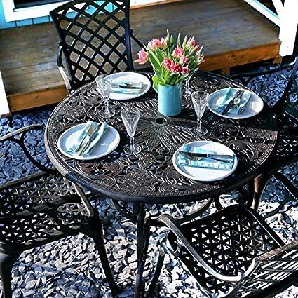 Lazy Susan - Table Ronde 103 cm Flora et 4 chaises de Jardin ...