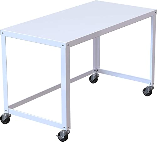 Office Dimensions 21647 White RTA 48″ Wide Mobile Metal Desk Workstation Home Office Collection