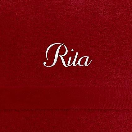 Toalla de baño con nombres Rita bordados, 70 x 140 cm, color blanco,