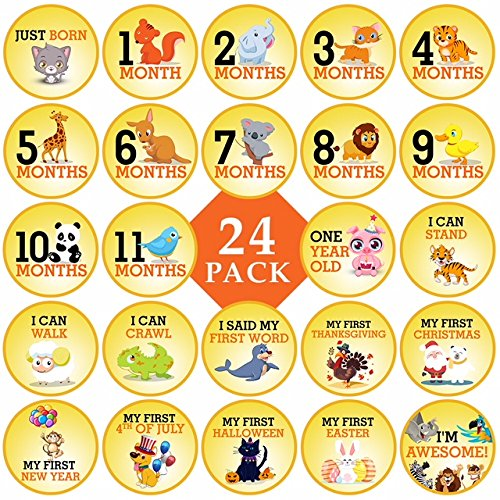 Baby Monthly Milestone Stickers Premium 24 Pack with Cute 4 Happy Animal Stickers for Each Month. Perfect for Boys and Girls for Scrapbooking, Baby Showers, Wall Decor. Remember Babys First Year