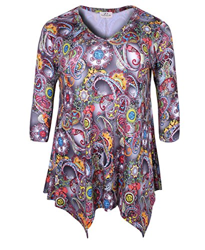 ZERDOCEAN Women's Plus Size Printed 3/4 Sleeve Tunic Top Loose Shirt Style-102 3X ()