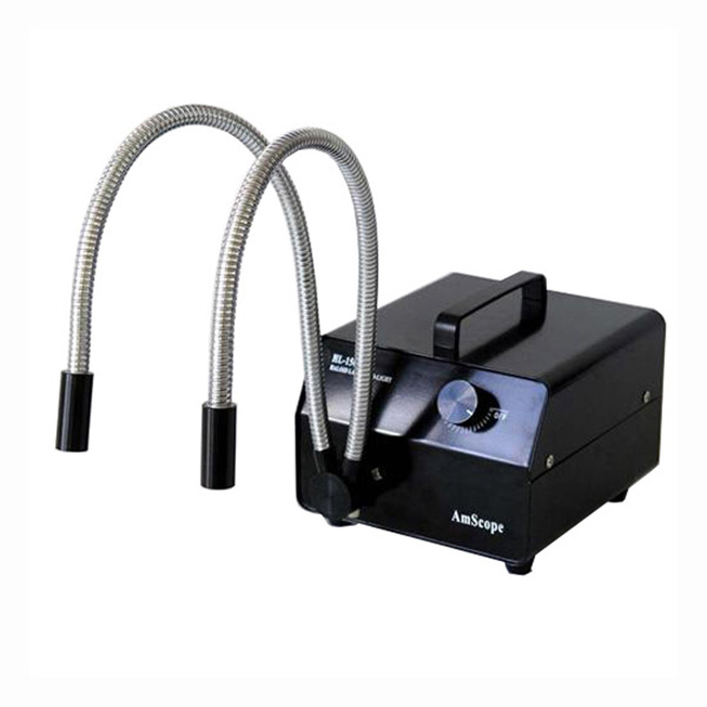 AmScope 150w Dual Gooseneck Fiber Optic Microscope Illuminator