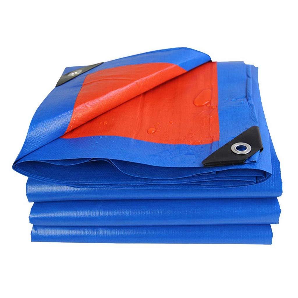 ターポリン アイレット付き防水ターポリン防水タープ厚みのあるPEオーニングサンスクリーンシェッドクロス、180g /m²ブルー+オレンジ (サイズ さいず : 6mx8m) B07SCY5K8K  6mx8m