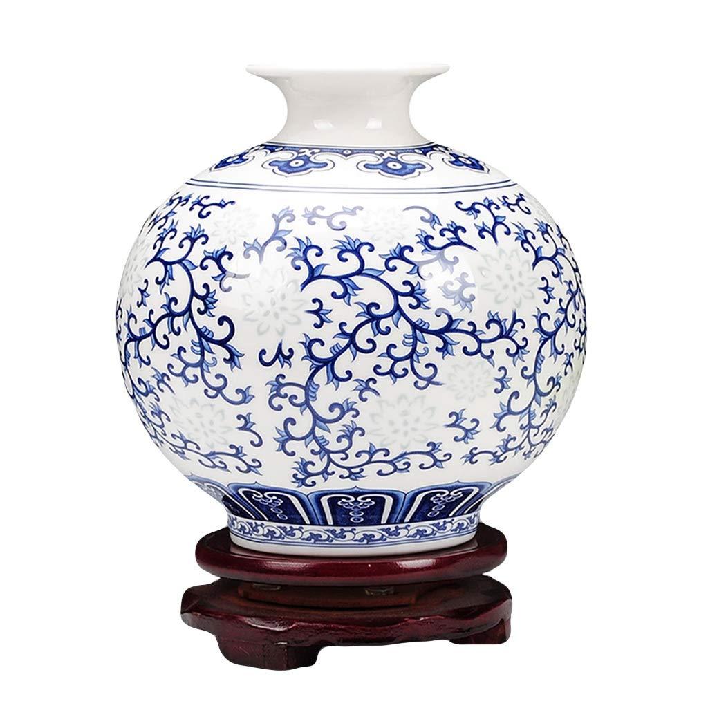 MAHONGQING 小さな花瓶セラミックス青と白の絶妙な骨中国薄いタイヤ古典的な現代中国のリビングルームのテーブルデコレーション(付き) (Size : M) B07RTKH7CS  Medium