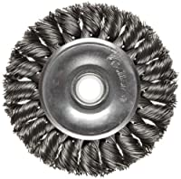 "Weiler Dualife Standard Wire Wheel Brush, Round Hole, Steel, Partial Twist Knotted, 3"" Diameter, 0.014"" Wire Diameter, 1/2-3/8"" Arbor, 5/8"" Bristle Length, 3/8"" Brush Face Width, 25000 rpm"