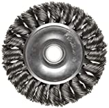 Weiler Dualife Standard Wire Wheel Brush, Round Hole, Steel, Partial Twist Knotted, 3'' Diameter, 0.014'' Wire Diameter, 1/2-3/8'' Arbor, 5/8'' Bristle Length, 3/8'' Brush Face Width, 25000 rpm