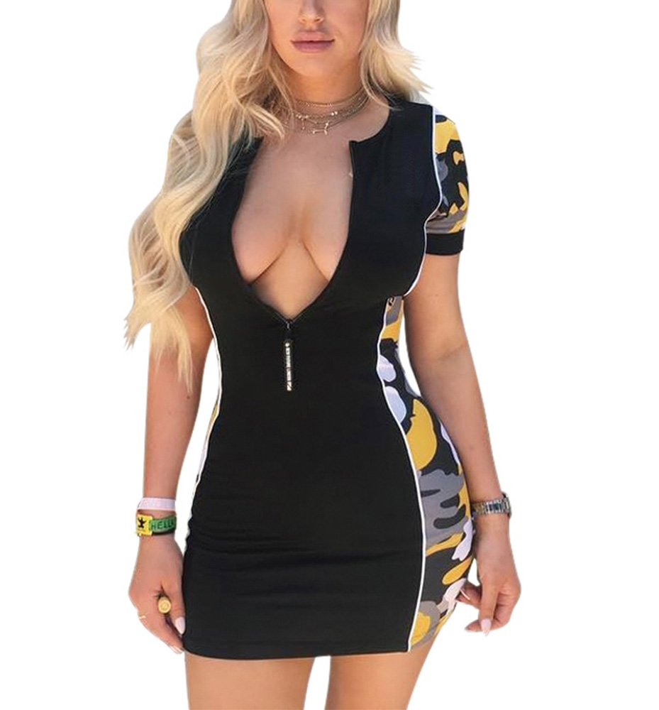 MolVee Women's Short Sleeve Camouflage Dresses Summer Sexy Bodycon Miniskirt (L, Black)