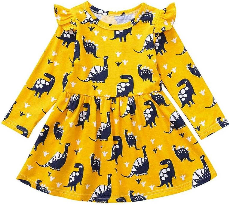 Anxinke Toddlers Little Girls Cute Long Sleeve Dinosaur Printed Crewneck Cartoon Dress