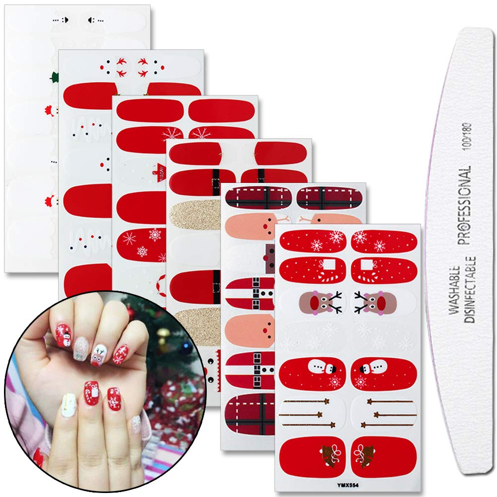 WOKOTO 6 Sheets Christmas Adhesive Nail Art Polish Stickers Strips Set With 1Pc File Deer Snow Manicure Nail Wraps Decals by WOKOTO