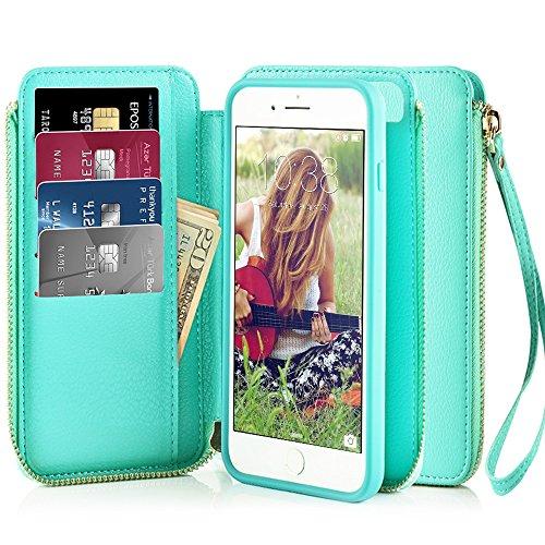 Zipper Detachable Strap (iPhone 6 Wallet Case, iPhone 6s Wallet Case, ZVE Apple iPhone 6/6s Case with Wallet Credit Card Slot Holder Zipper Strap Filo Handbag Carrying Wallet Case Cover for iPhone 6s 4.7 inch, Blue)