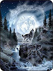 "Regal Comfort Moon Wolf Throw Blanket 45"" x 60"""