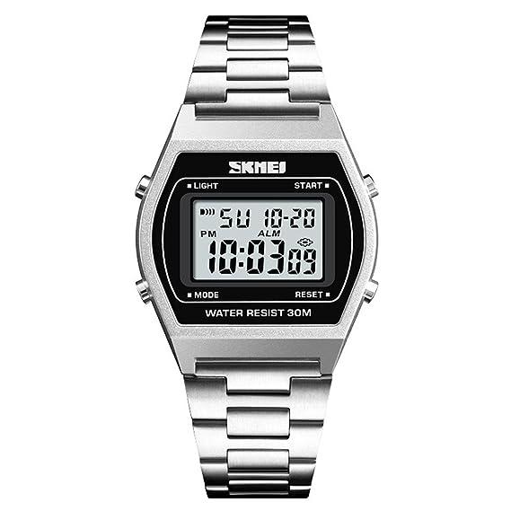 LONGQI - Reloj de pulsera digital con pantalla rectangular LED para hombre, con correa de reloj de alta calidad: Amazon.es: Relojes