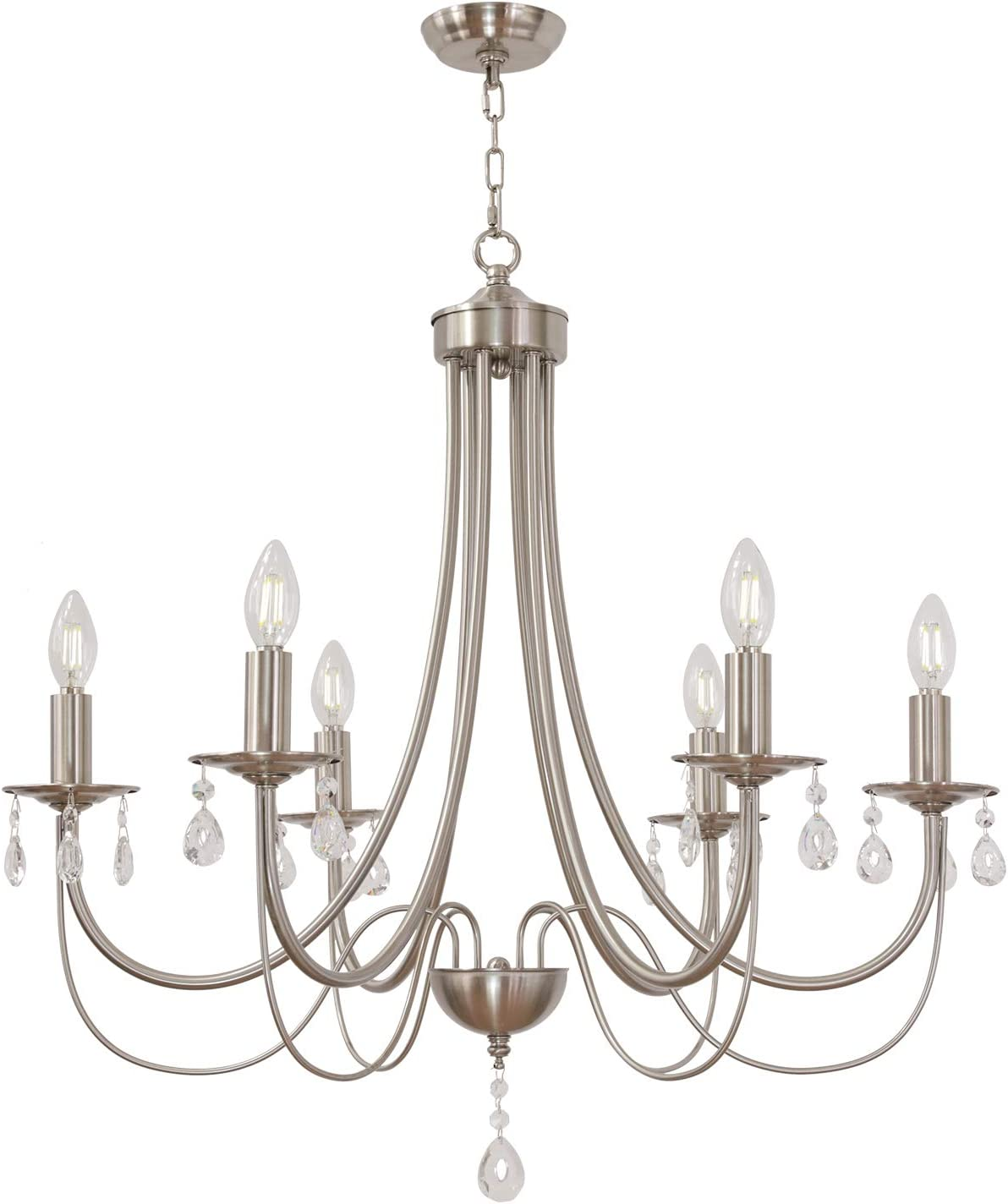 Amazon Com Brushed Nickel Chandelier With Clear Crystal Modern Farmhouse Lighting Candle 6 Lights Kitchen Pendant Lighting Hanging For Dining Room Living Room By Lucidce Home Improvement