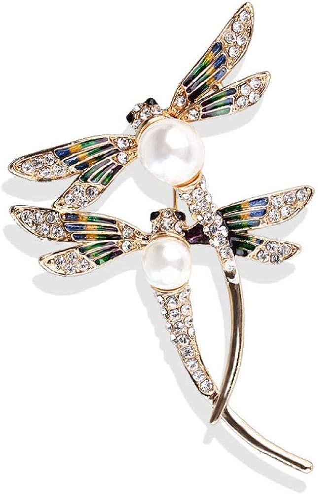 Aymsm Broche de Moda para Mujer Encantador, Insecto de Moda Mujer Diamante Perla Chal Hebilla Accesorios Fiesta Camisa Collar Accesorios Broche