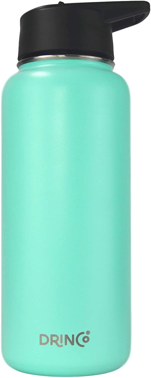Drinco - Stainless Steel Water Bottle Double Wall Vacuum Insulated with Straw Lid | Perfect for Traveling Camping Hiking (32 oz, Teal)