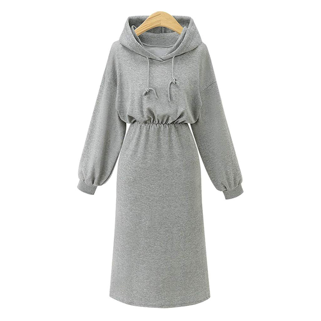 Excursion Clothing Women's Long Sleeve Hoodie Dress Elasticity Waist Long Sleeve Long Pullover Sweatshirt Hooded Drawstring Maxi Dress by Excursion Clothing