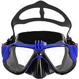 Masque de Plongée en Silicone Imperméable avec la Monture de Caméra pour GoPro, Verre Trempé, Antibuée et Anti-fuite (Adultes)