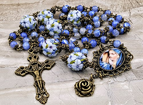 Blessed Virgin Mary Blue Agate Lampwork Vitality,Protection,Harmony,Strength Ornate Handcrafted Gemstone Rosary bronze tone