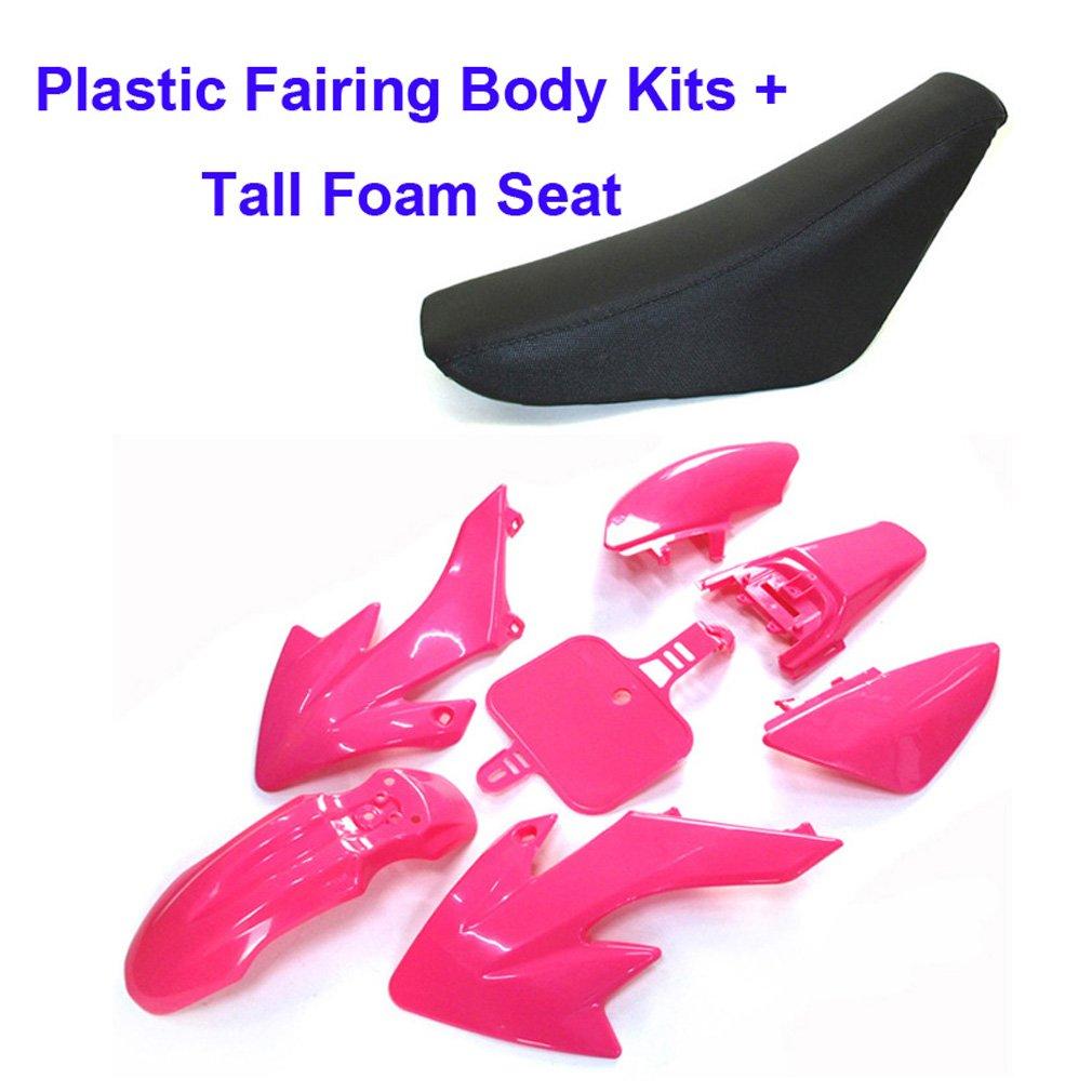 Red TC-Motor Red Tall Foam Seat Plastic Fairing Body Kits For Honda CRF50 XR50 50cc 70cc 90cc 110cc 125cc 140cc 150cc 160cc Chinese Pit Dirt Motor Trail Bike SSR Atomik Thumpstar Apollo Kayo Stomp