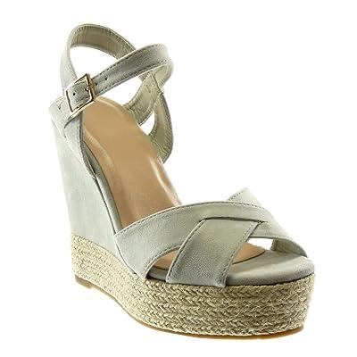 eb611fbf965085 Angkorly Chaussure Mode Espadrille Sandale Peep-Toe Lanière Cheville Plateforme  Femme Lanières Croisées Corde Talon