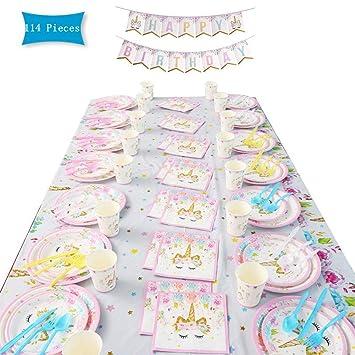 114 Piezas Vajilla Desechable Cumpleaños Unicornio ...