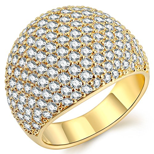 (White Diamond Accent Dome Ring - Cluster Cubic Zirconia Paved Statement Wide Bands Size)