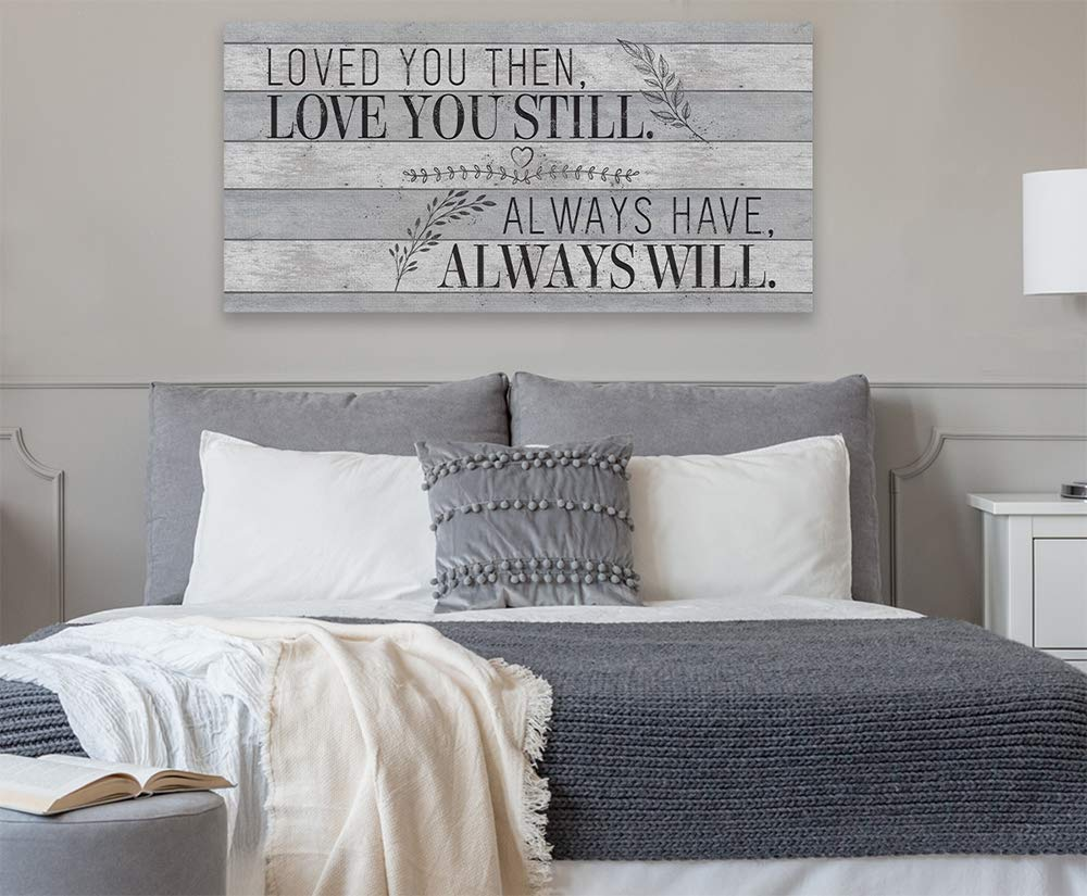 Loved You Then Ready to Hang Large Canvas Wall Art Great Housewarming and Wedding Gift Under $50 - Stretched on a Heavy Wood Frame Not Printed on Wood Perfect Above a Couch or Headboard
