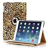 TNP Apple iPad Air Case (iPad 5th Gen, 2013 Model) Tablet - 360 Degree Rotating Stand Folio PU Leather Smart Cover Case with Built-in Magnet for Auto Sleep & Wake & Stylus Holder, Leopard Brown