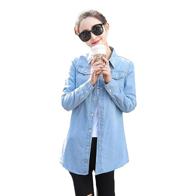 Hibote Blusa de Mezclilla de Mujer - Primavera/Otoño Camisa de Manga Larga Casual con