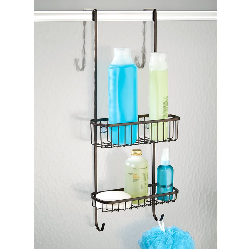 Amazon.com: InterDesign Gia Over Shower Door Caddy - Bathroom ...