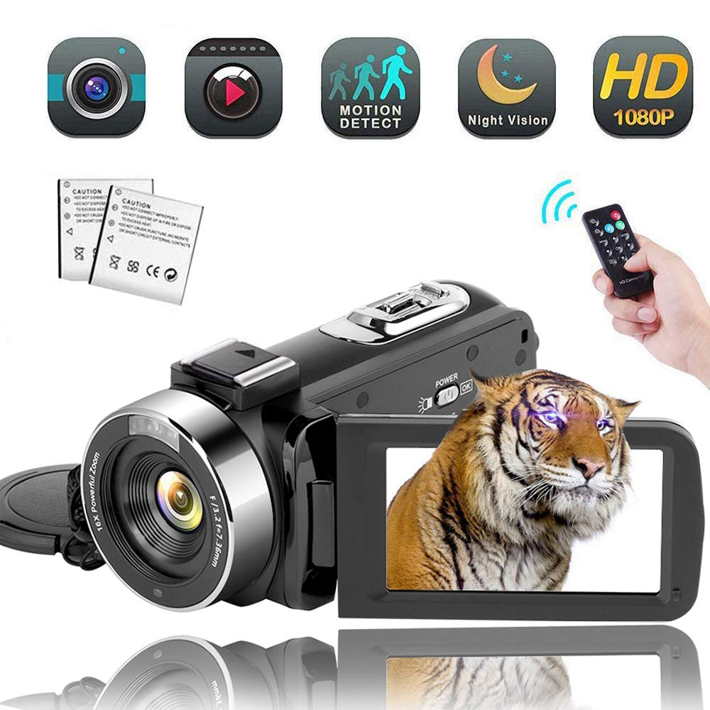 Video Camera Camcorder,Vlogging Camera Recorder for Youtube Full HD 1080P 30FPS 16X Digital Zoom Vlog Camera Support Night Vision Pause Function Time Lapse & Motion Detection by SUNLEA
