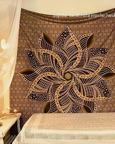 Popular Handicrafts Kp903 moon ombre gold Tapestry Indian Mandala Wall Art Hippie Wall Hanging Bohemian Bedspread multi purpose tapestries King Size