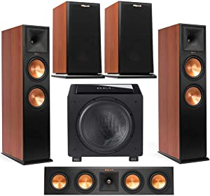 Klipsch 2-Pack Premiere RP-280FA Dolby Atmos Front Speaker (Cherry Vinyl) - Bundle with RP-440C 2-Way Center Speaker, RP-150M 2-Way Bookshelf Speaker Pair (Cherry), Rel HT/1508 Subwoofer (Black Vinyl)