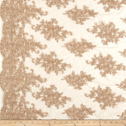 TELIO Veronica Lace Embroidery Gold Fabric by The Yard (Fabric Gold Embroidery)