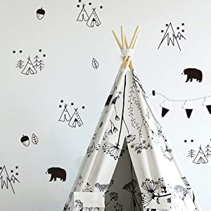 DIY Cartoon Decor Geometric Bear Tent Wall Stickers Nordic Style Children's Room Bedroom Kindergarten Background Layout Home Decoration Stickers A5(5.8x8.2inch)x 6sheets (Black 112)