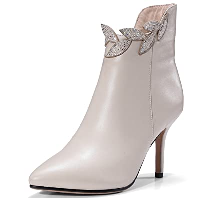 Genuine Leather Women's Pointed Toe Stiletto Heel Zip Leaves Handmade Charming Ankle Boots
