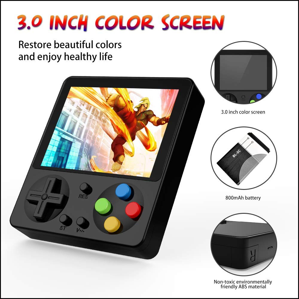 Ruihoxin Handheld Game Console, 333 Classic Games 3.0 inch HD LCD Screen Portable Video Game, Retro Game Console can be Played on TV, Good Gift for Children and Adults, Gifts. (Black) by Ruihoxin (Image #3)