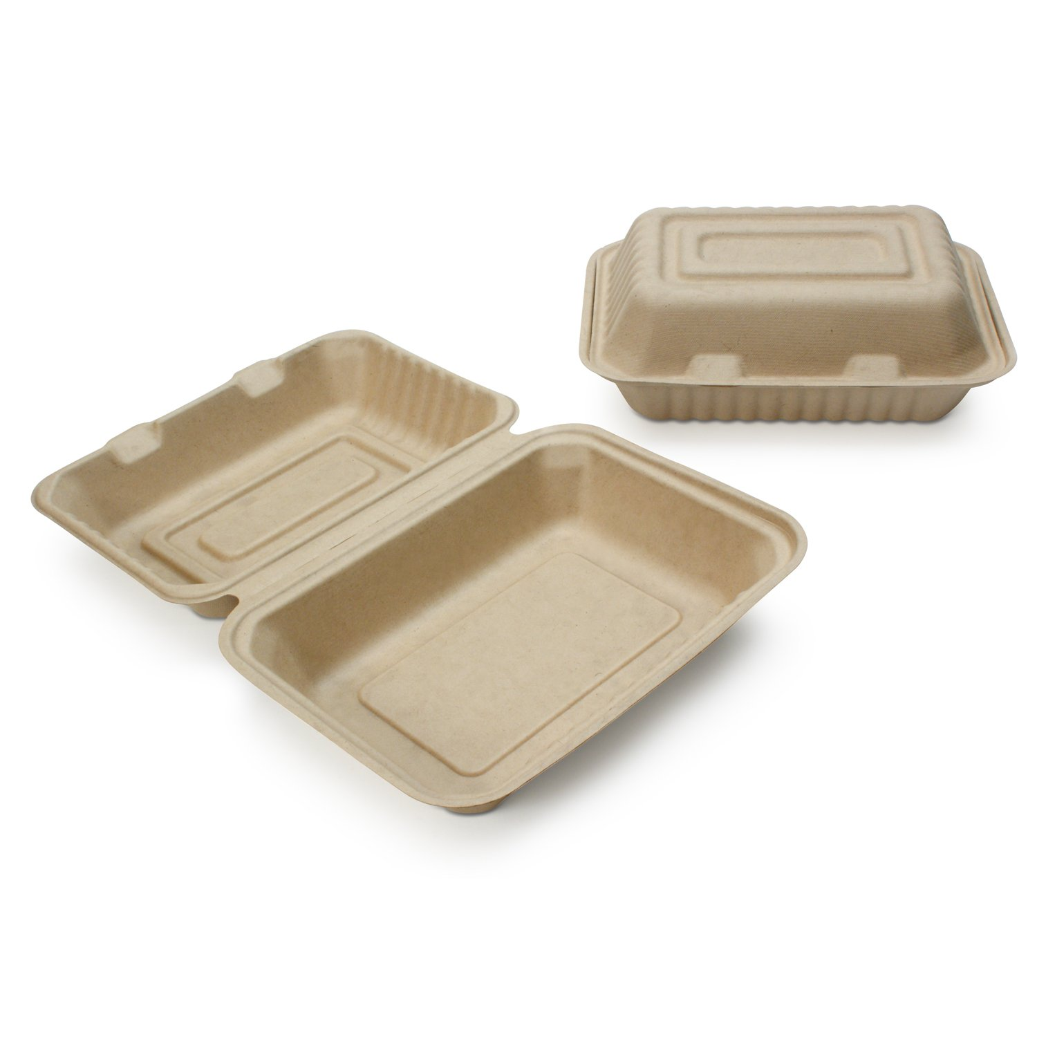 Earth's Natural Alternative Wheat Straw Fiber, Bagasse (Sugarcane) Tree Free 9'' x 6'' x 3'' Clam Shell Container, 500/Case