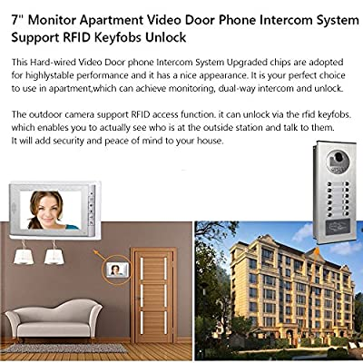 AMOCAM Video Intercom RFID Keyfob Unlock Entry System, Wired 7 inch Monitor Video Door Phone Doorbell for 3 Units Apartment, Monitoring, Unlock, Dual way Door Intercom with 3-Screen