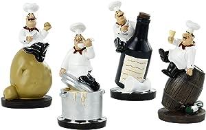 Beonueni 4pcs Italian Chef Statue Figurines Kitchen Decor with Potatoes Resin Ornaments Chef Top Chef Collectible Gift Kitchen Cook Café Bar Shop Decor