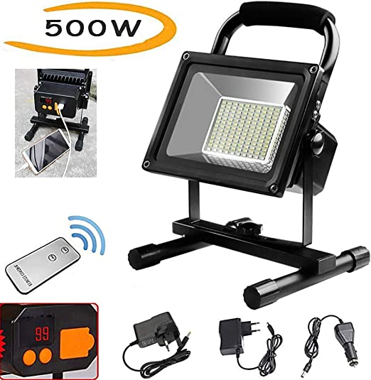Foco LED Recargable 500W, 9000LM Foco LED Reflector para Trabajo ...