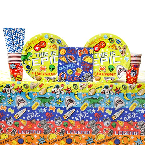 Epic Party Supplies Pack for 16 Guests: Straws, Dinner Plates, Luncheon Napkins, Table Cover, and -