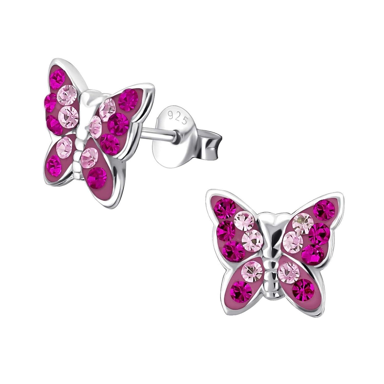 Schmetterling Libelle Ohrstecker Echt 925 Silber Mädchen Kinder Ohrringe Rosa