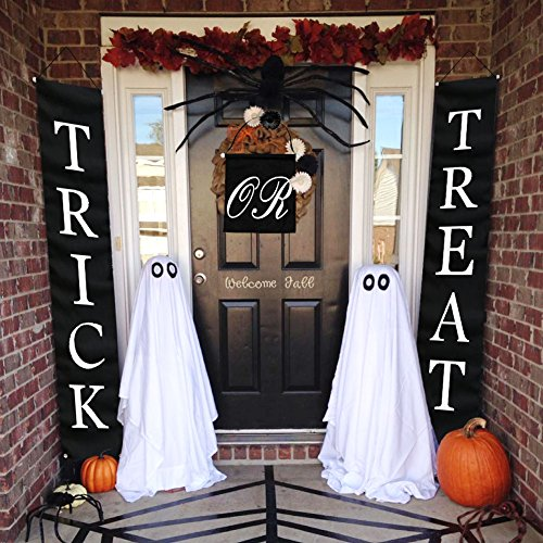 Wooden Outdoor Halloween Decorations (OurWarm 3pcs Trick or Treat Halloween Banner for Home Indoor/Outdoor, Halloween Hanging Sign for Office Door Porch Front Halloween Decorations, Strong Wind)