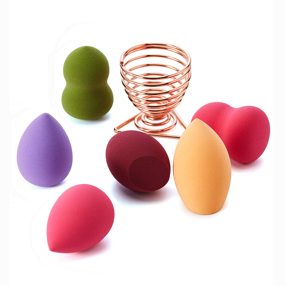 [No Latex]SOMIER 6pcs Beauty Sponge Makeup Blender Set, Cosmetics Foundation Blending Sponge with Rose Gold Drying Holder