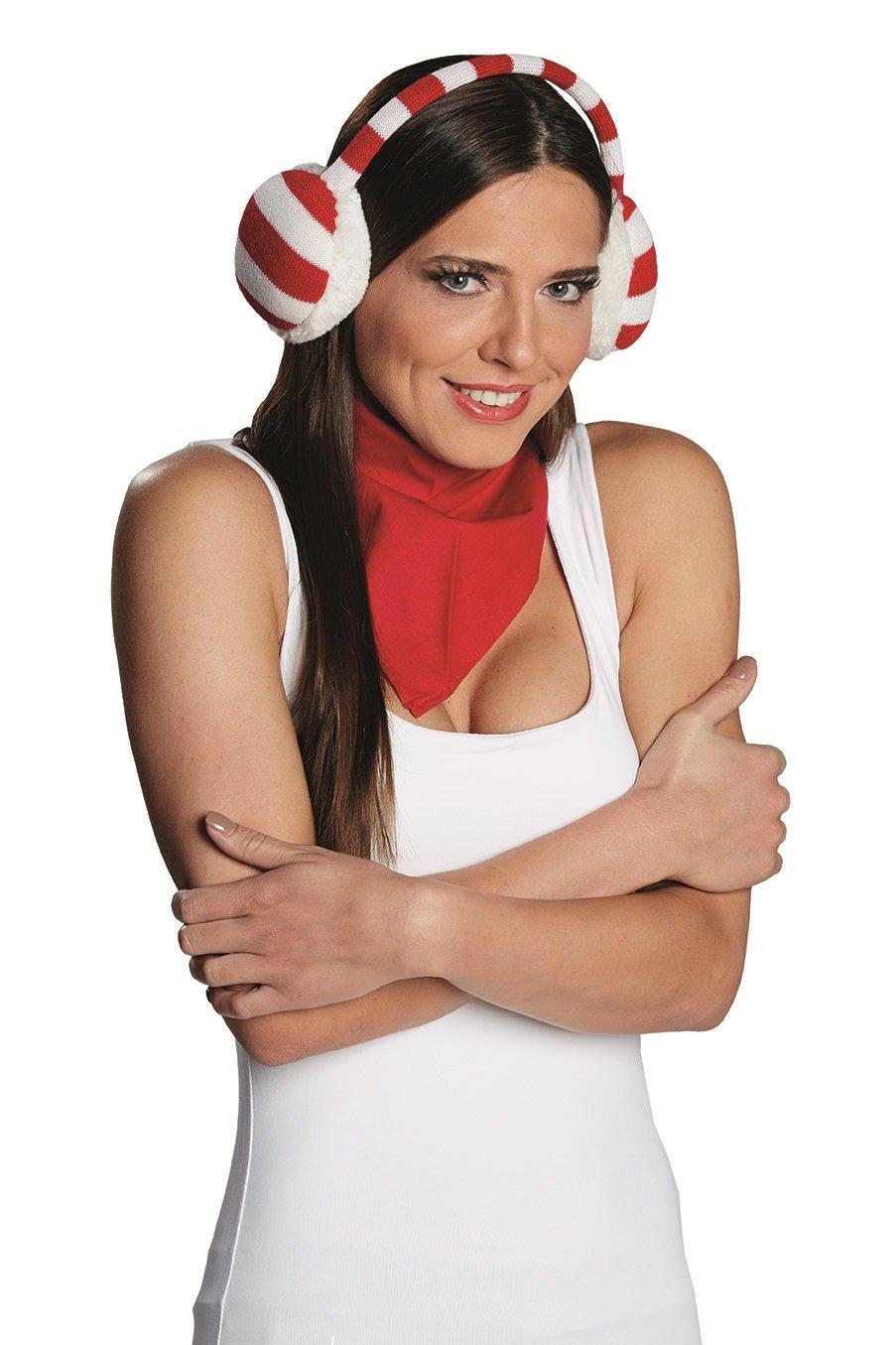 Weihnachtshaarreifen Haarreifen Ohrenwärmer rot//weiß Fanartikel