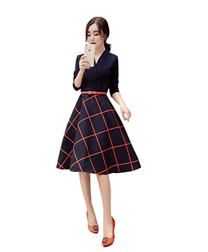 Tanming Women's Plaid Long Sleeve V Neck Skirt Belted Casual Dress