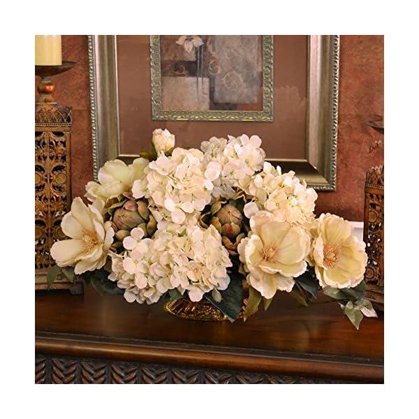 Cream Magnolia and Hydrangea Silk Floral Centerpiece